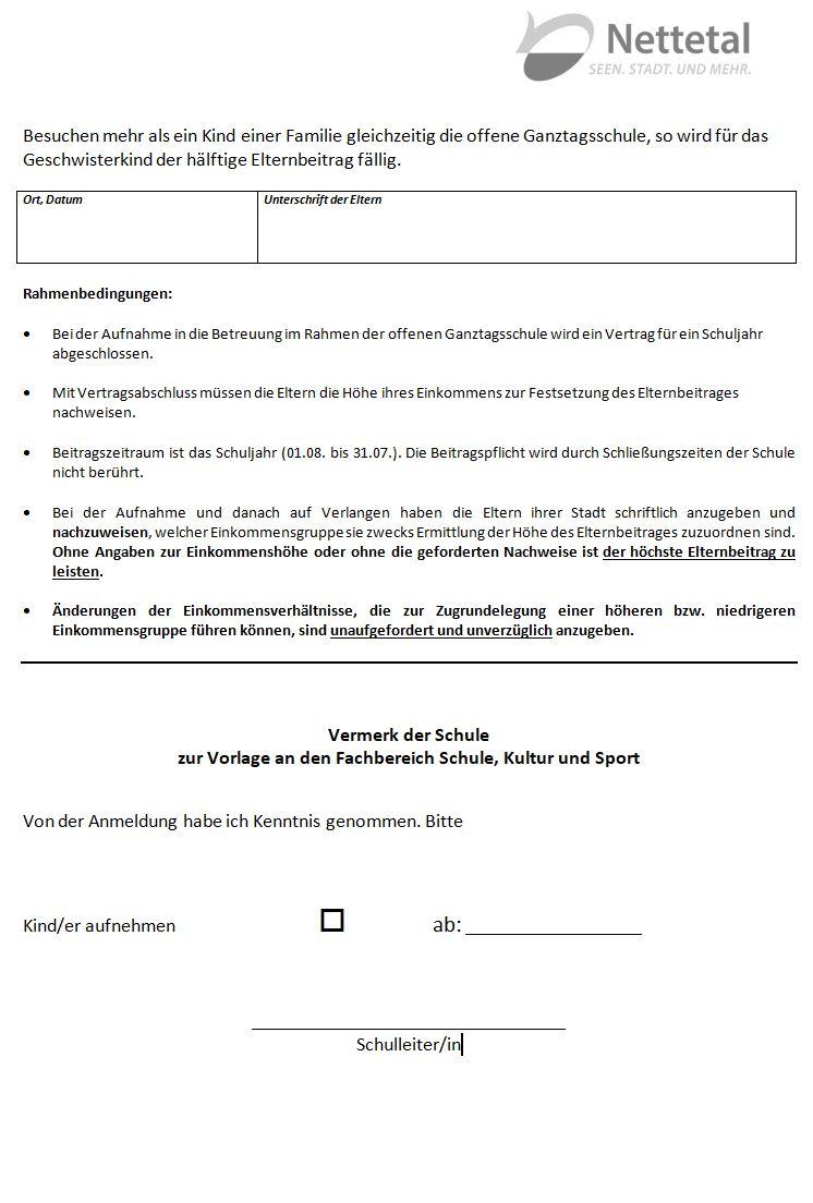 Anmeldeformular Schuljahr 2018 / 19